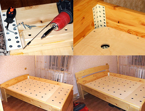 Этапы создания кровати из мебельного щита