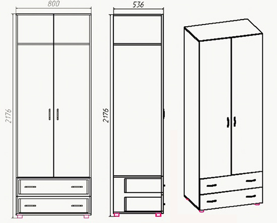 Чертеж шкафа из мебельного щита